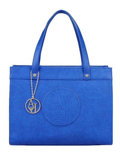 Armani Jeans Shopping Bag in Faux Leather with Charm Royal Blue Bag Medium