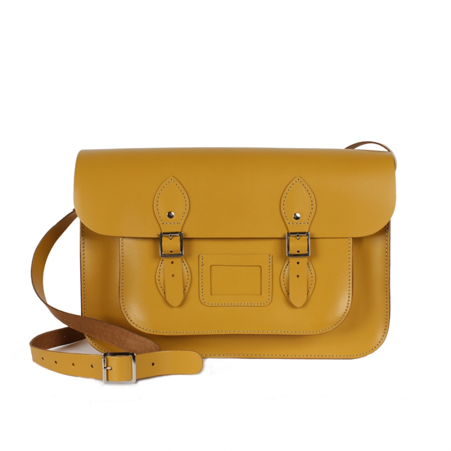 Bohemia Leather Satchel Bag 12.5  Mustard