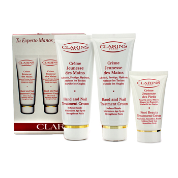 Clarins 2 x 100ml Hand & Nail Treatment Cream  30ml Foot Treatment Cream