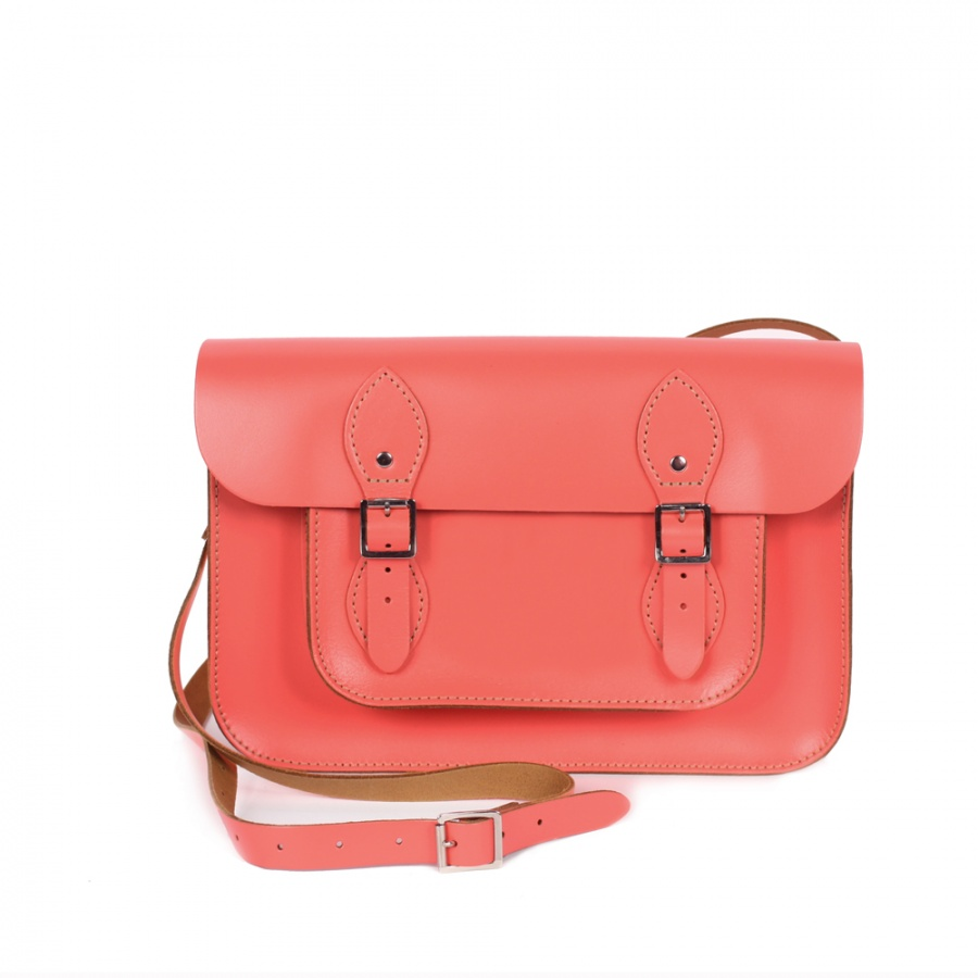 NEW ! Bohemia Leather Satchel Bag 11 Coral