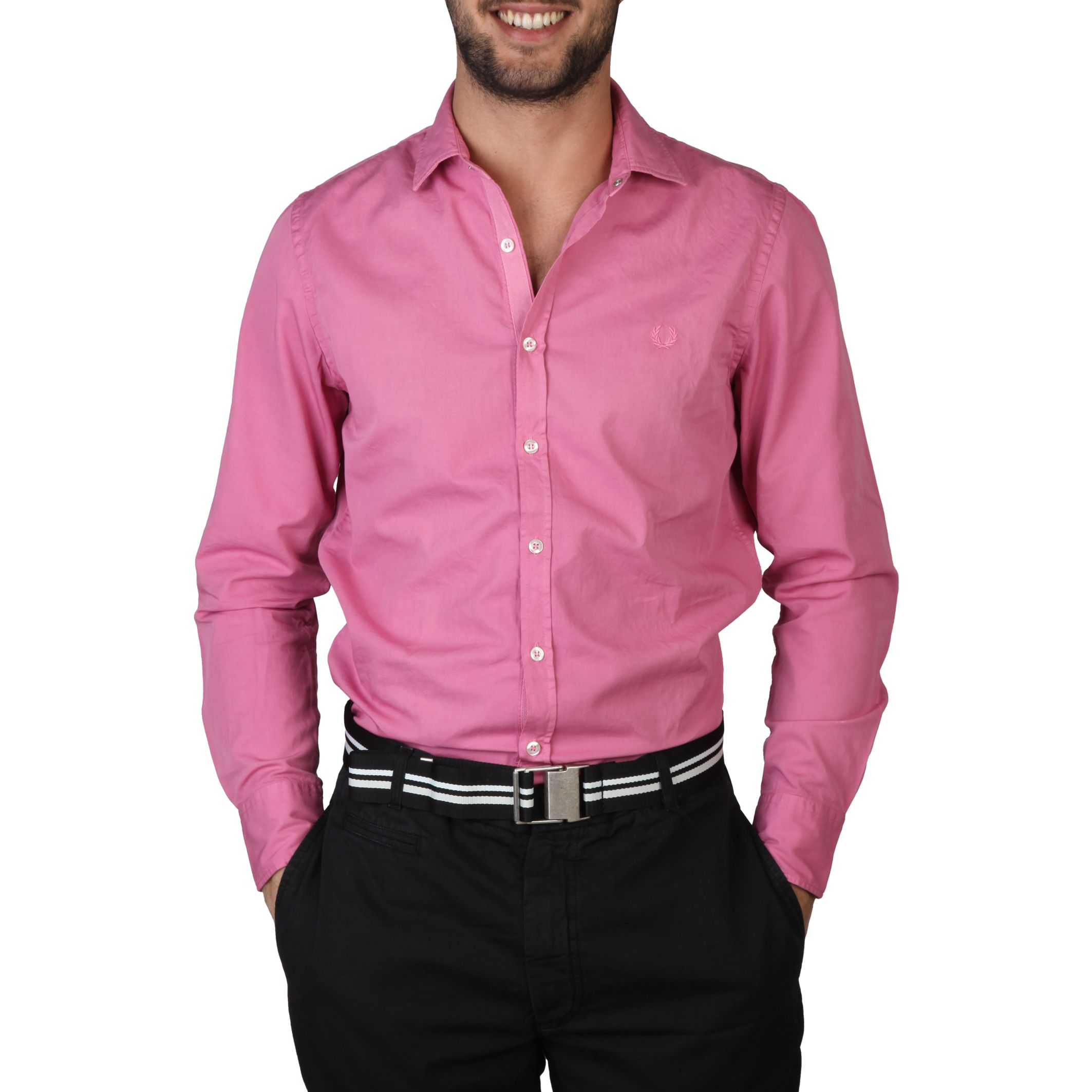 Fred Perry Mens Shirt  Deep Pink (Small)